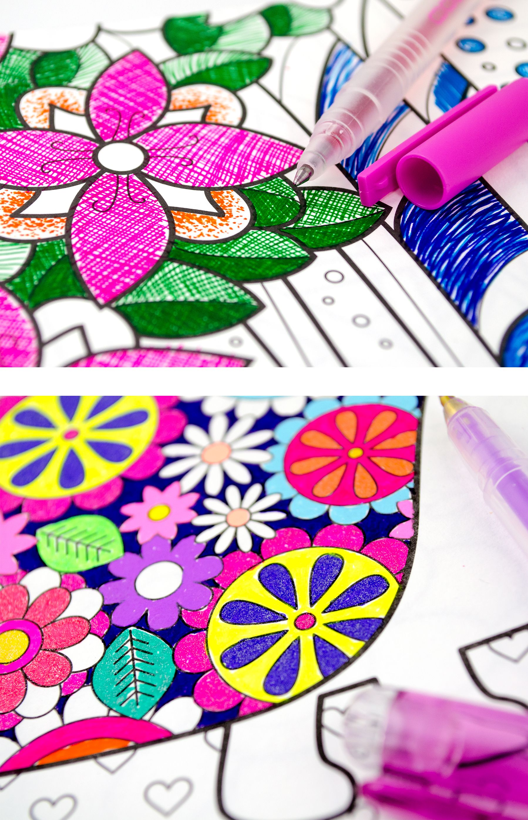 Colored Gel Pens Make Adult Coloring Very Interesting | Glitter gel ...