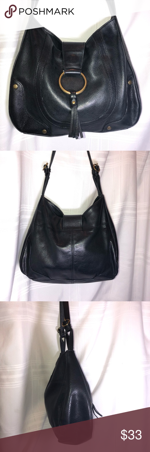 Black Wilsons Leather Studded Bag Adjustable Strap