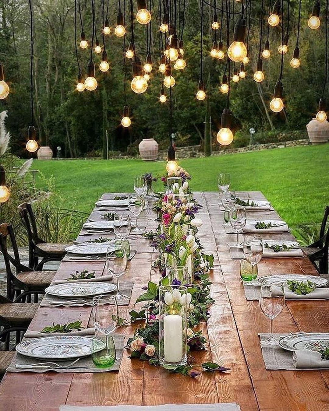 Gedeckter Tisch Im Garten: Hochzeit Deko, Tischdeko