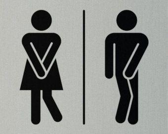 Symboles-Funny Novelty salle de bains//toilettes//porte//Vinyle Autocollant//Autocollant