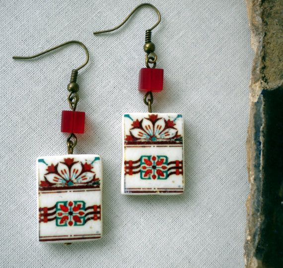 The Colors of Portugal  Antique Tile Replica Earrings  by Atrio,