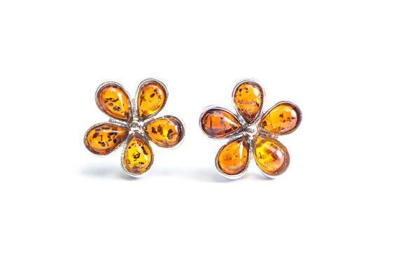 Cute Amber Flower Studs Earrings Baltic