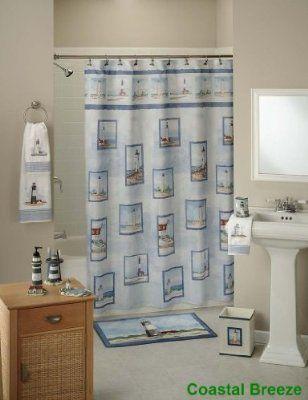 Coastal Breeze Lighthouse Bathroom Decor Nautical Shower Curtains Lighthouse Bathroom Boys Shower Curtain