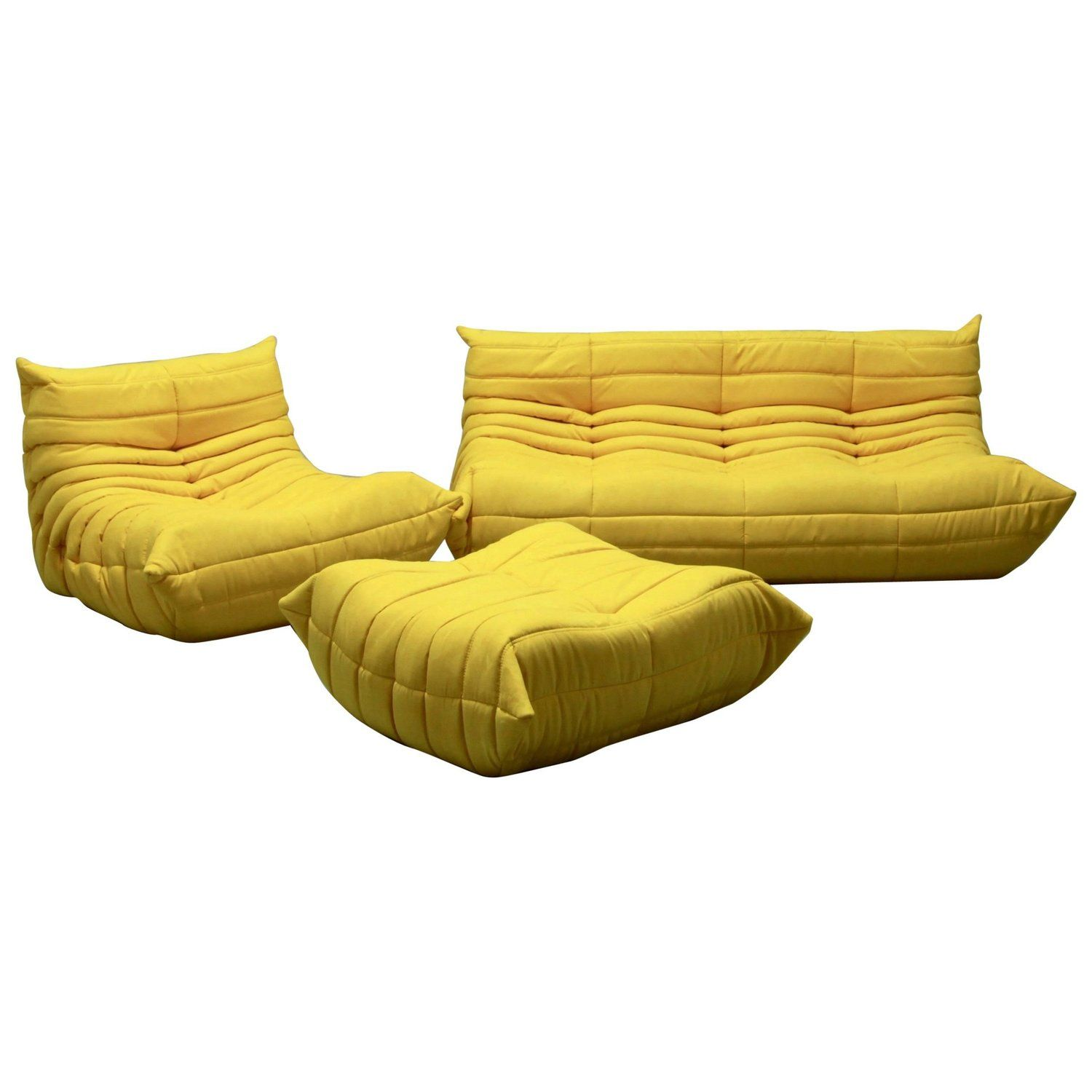 Vintage Yellow Microfibre Togo Sofa Set By Michel Ducaroy For Ligne