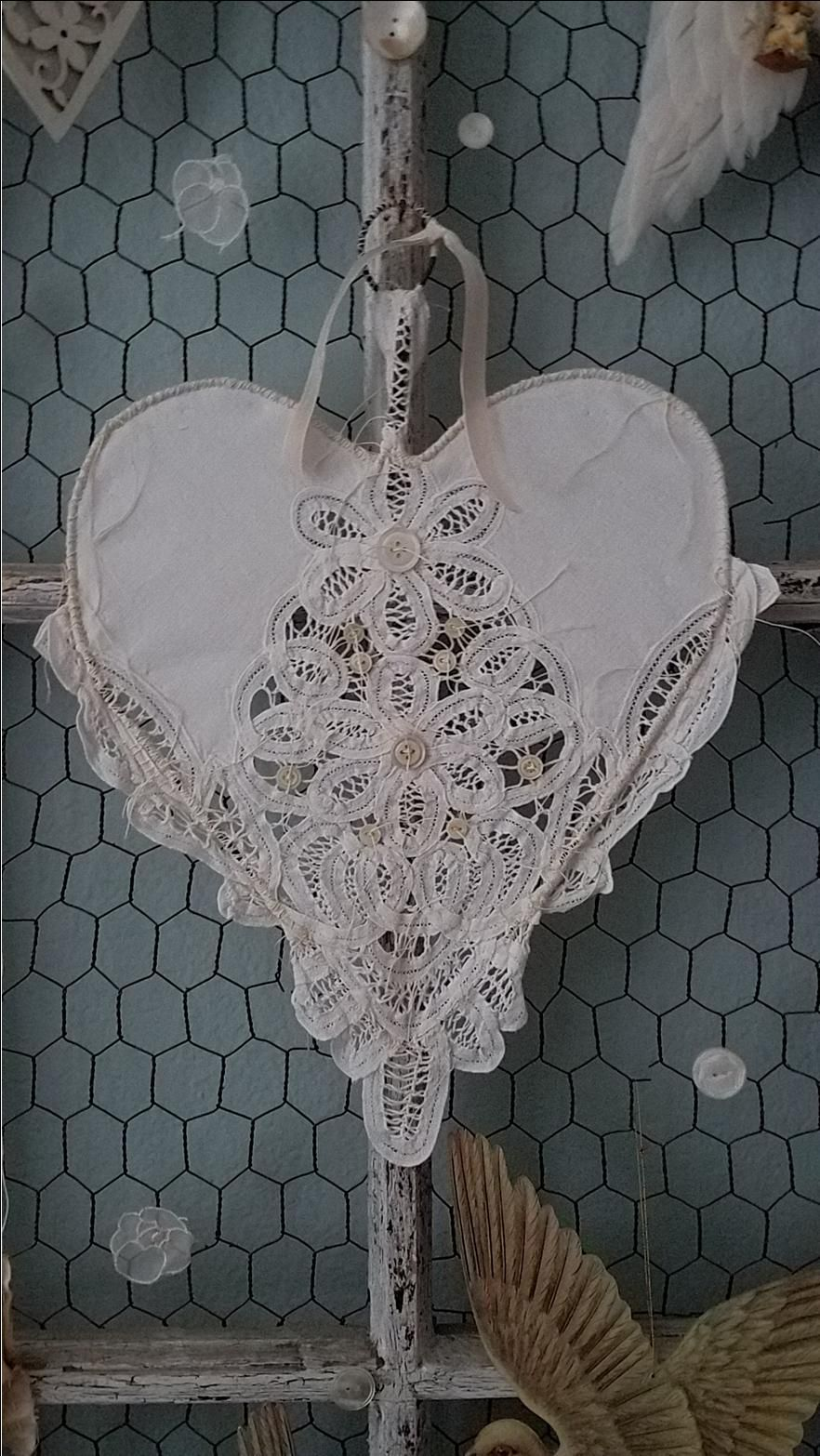 Vintage Shabby Chic Wire Lace Heart French Nordic Style Hearts - Manualidades-shabby-chic