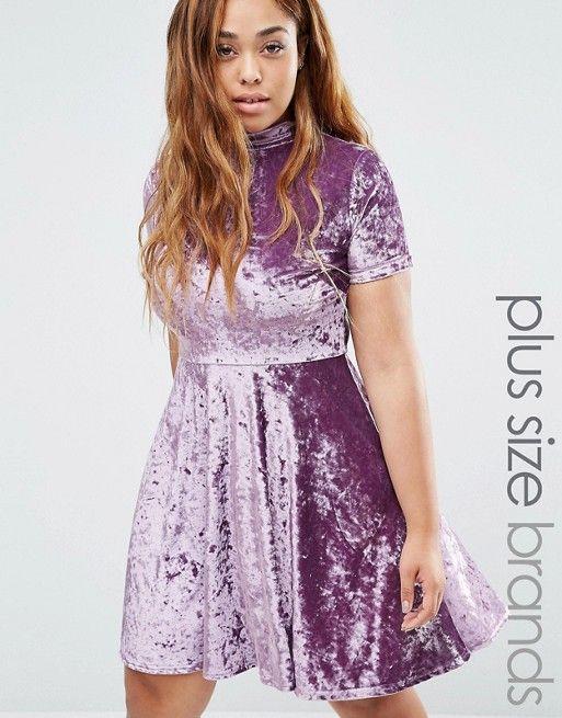 7be284495b9 Club L Plus Crushed Velvet High Neck Skater Dress