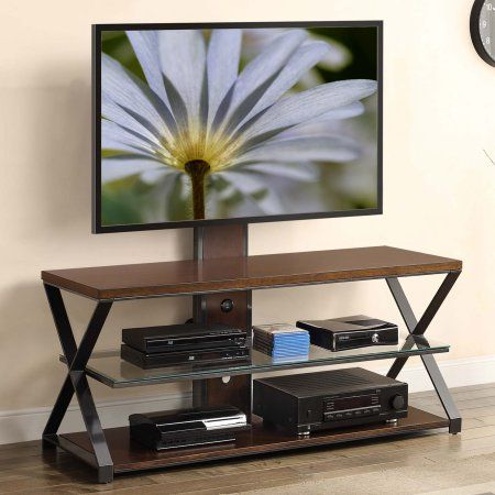 Whalen 3 In 1 Tv Stand For Tvs Up To 70 Inch Cappuccino Gunmetal