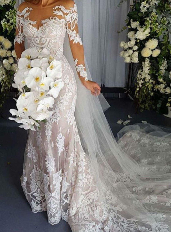 Sexy scoop backless long sleeves lace mermaid wedding dresses