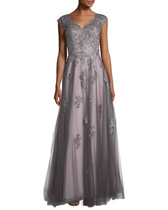 cafd0a4b6cb V-Neck+Embroidered+Mesh+Evening+Gown+by+La+Femme+at+Neiman+Marcus ...