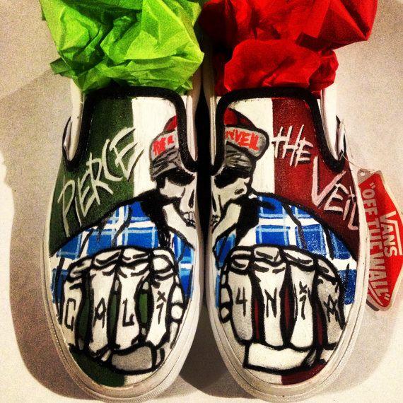 18e9ba4bb7 Custom Hand Painted Pierce the Veil Slip ons (NOT VANS BRAND) on Etsy
