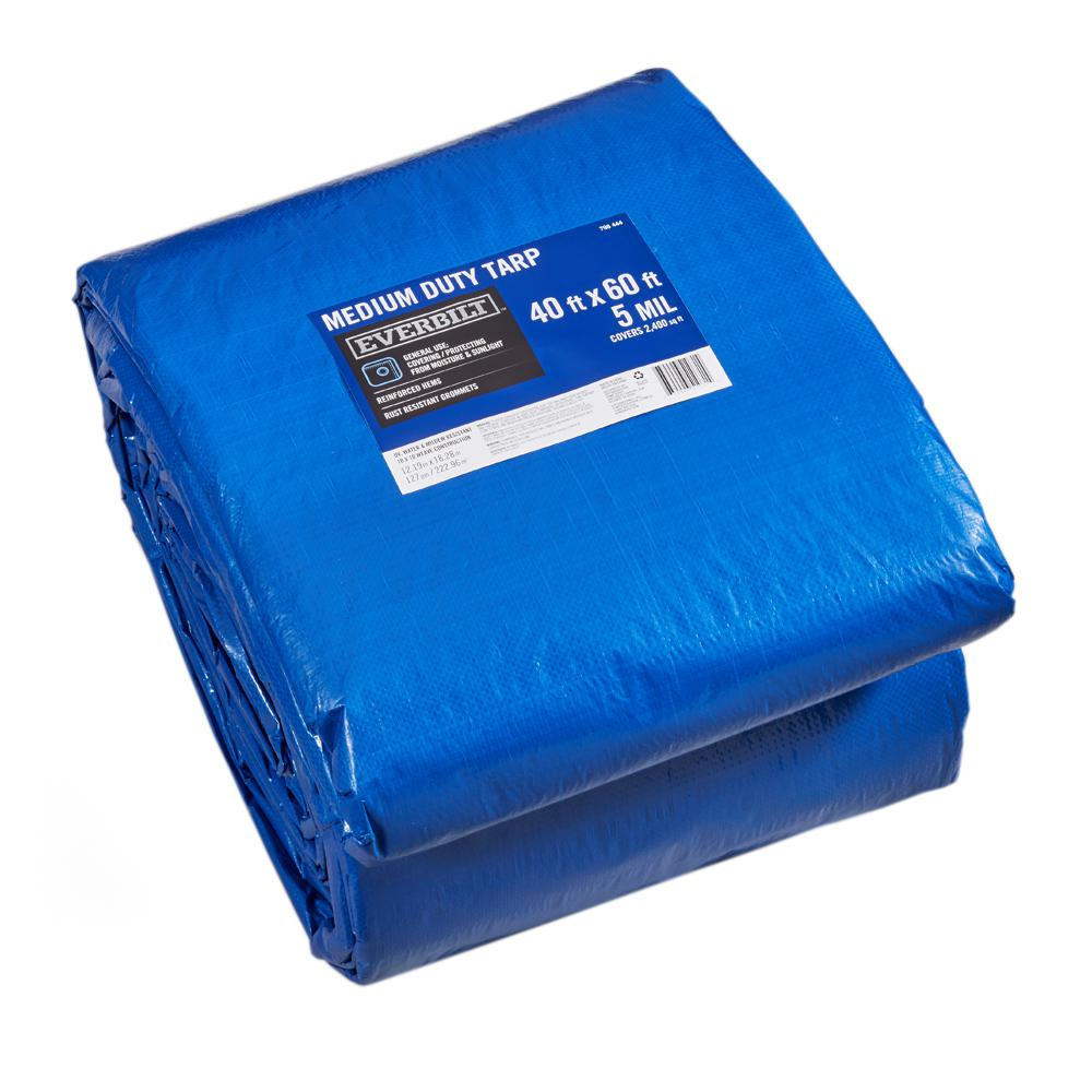 Everbilt 40 Ft X 60 Ft Blue Medium Duty Tarp Bp4060 Roof Covering Canopy Cover Boat Covers