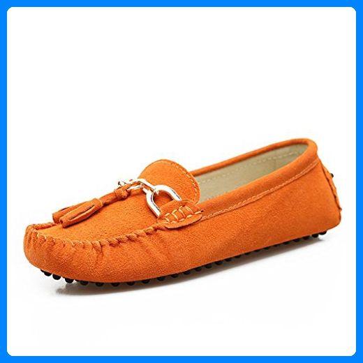 Minitoo Women's Slipper, bequem, Veloursleder, Herren Slipper mit Quaste, Balerinnas Driving Schuhe, Orange - orange - Größe: 38.5 - Slipper und mokassins für frauen (*Partner-Link)