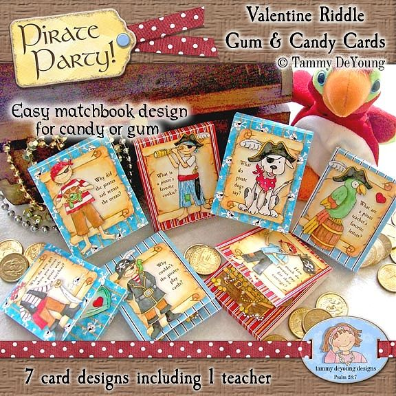 Pirate Party Riddle Candy  Gum Valentines  Valentines Cards