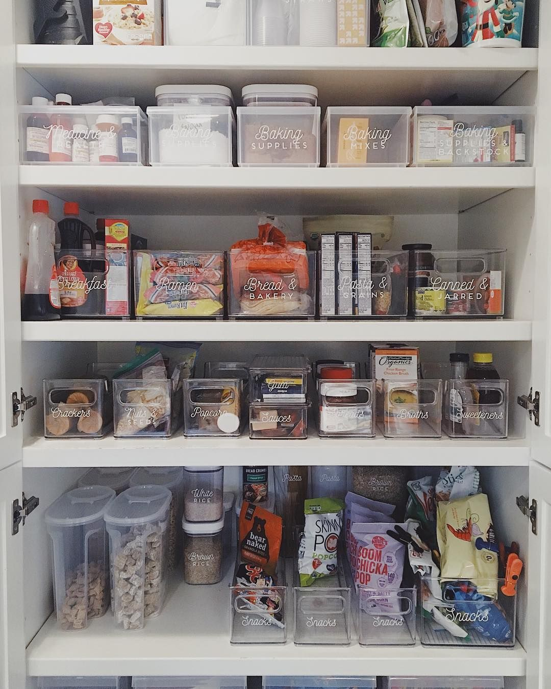 Clear Containers And Our Signature Labels Help This Family Stay Organized With Their Deep Pant Deep Pantry Deep Pantry Organization Kitchen Organization Pantry