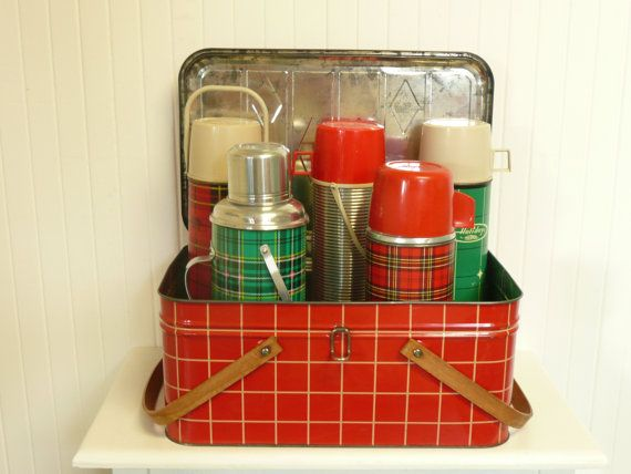 Vintage Green Plaid Thermos, Picnic Camping, Larger Size - Vintage Travel Trailer Decor