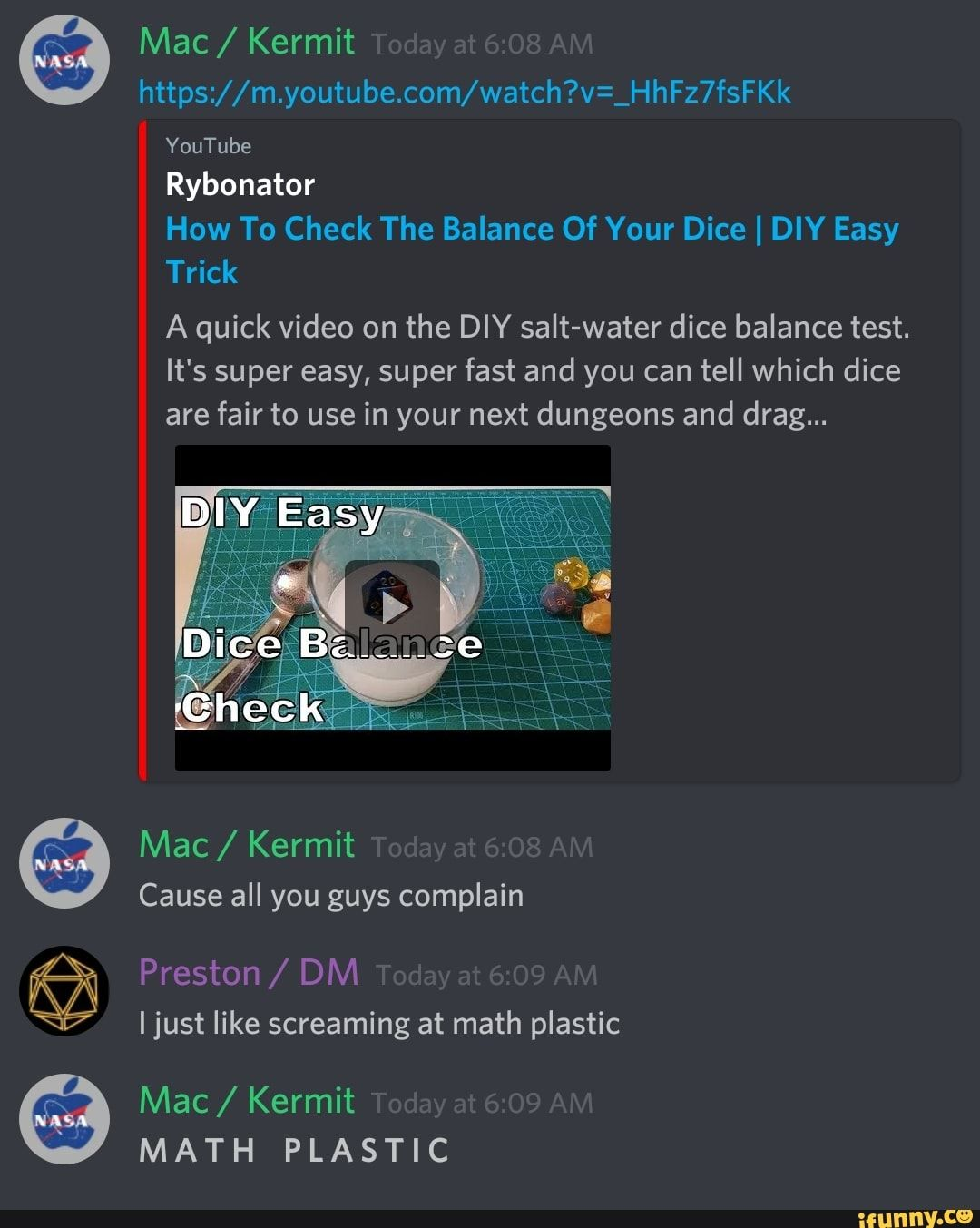Https M Y0utube C0m Watch V Hth7stkk Youtube Rybonator How To Check The Balance Of Your Dice I Diy Easy Trick A Quick Video On The Diy Salt Water Dice Bala Simple Tricks Youtube Super Easy