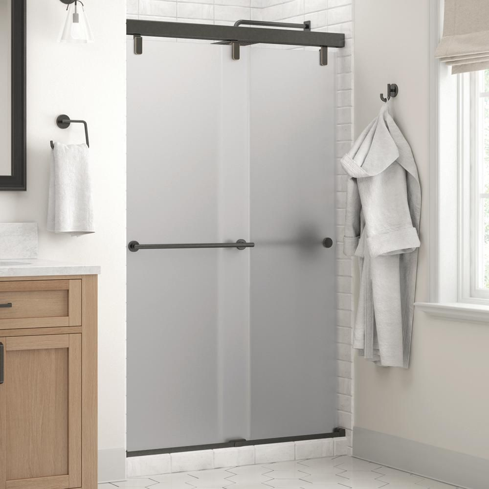 Delta Everly 48 X 71 1 2 In Frameless Mod Soft Close Sliding Shower Door In Bronze With 1 4 In 6mm Niebla Glass Shower Doors Small Shower Remodel Frameless Sliding Shower Doors