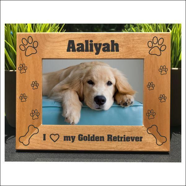 I Love My Golden Retriever Personalized Engraved Photo Frame Picture Frame Gift Dog Photo Frames Photo Frame Photo Engraving