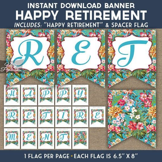 Tropical Retirement Banner - Printable Retirement Party Decorations - Hawaiian Luau Floral - Retirem #hawaiianluauparty Tropical Retirement Banner - Printable Retirement Party Decorations - Hawaiian Luau Floral - Retirem #hawaiianluauparty