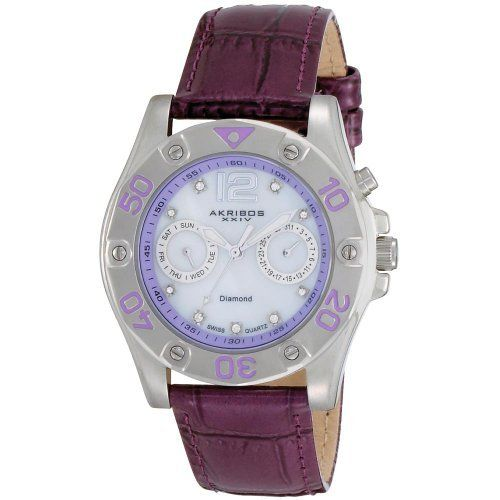 Akribos XXIV Women's AKR483PU Diamond Multi-Function Watch Akribos XXIV. $139.00. Shatter resistant krysterna crystal protects the mother-of-pearl dial. This watch is water resistant to 165ft and comes complete with a 2 year manufacturer?s warranty.. Timepiece is powered by a precise swiss quartz movement.. Genuine calfskin leather strap with engraved tang buckle. Genuine diamond multi-function ladies watch. Save 80% Off!