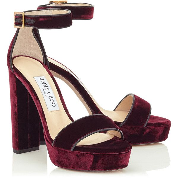 b4f41f2fda6 Bordeaux Velvet Platform Sandals HOLLY 120 (62 710 UAH) ❤ liked on Polyvore  featuring