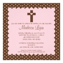 Brown & Pink Baby Girl Baptism Inviation Custom Invite