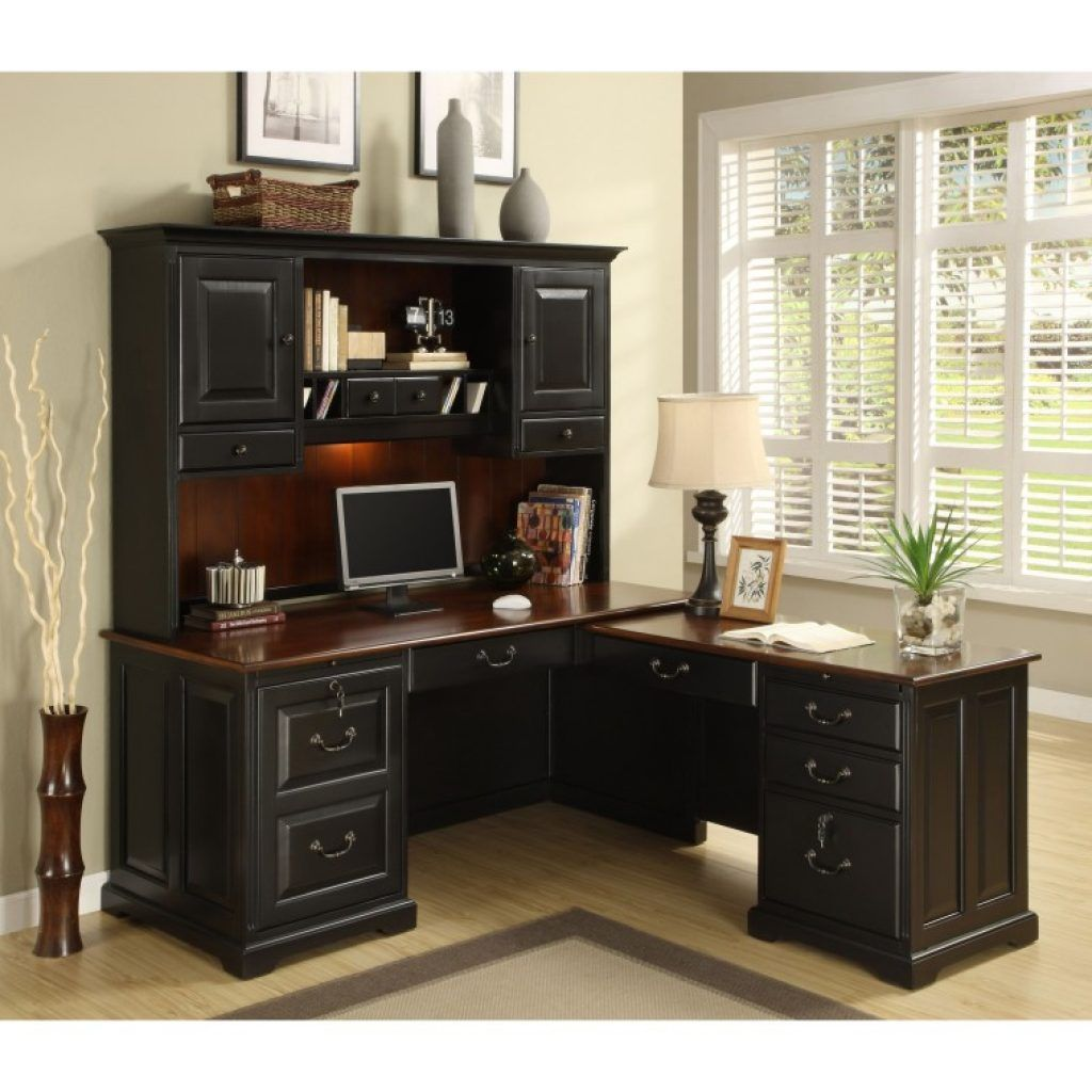 Awesome retro black wooden l shaped computer desk prettify with