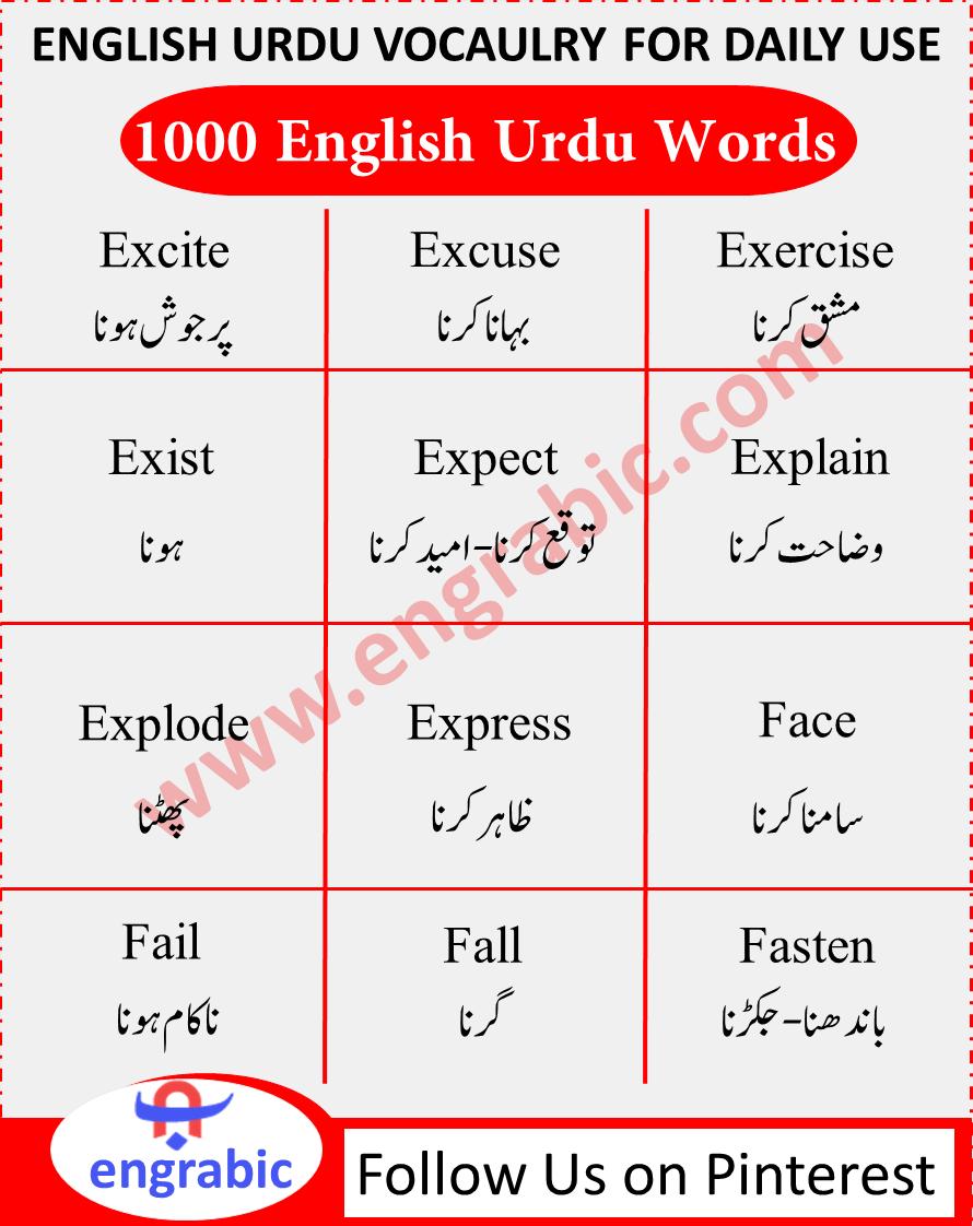 English to Urdu Conversation Sentences   English words ...