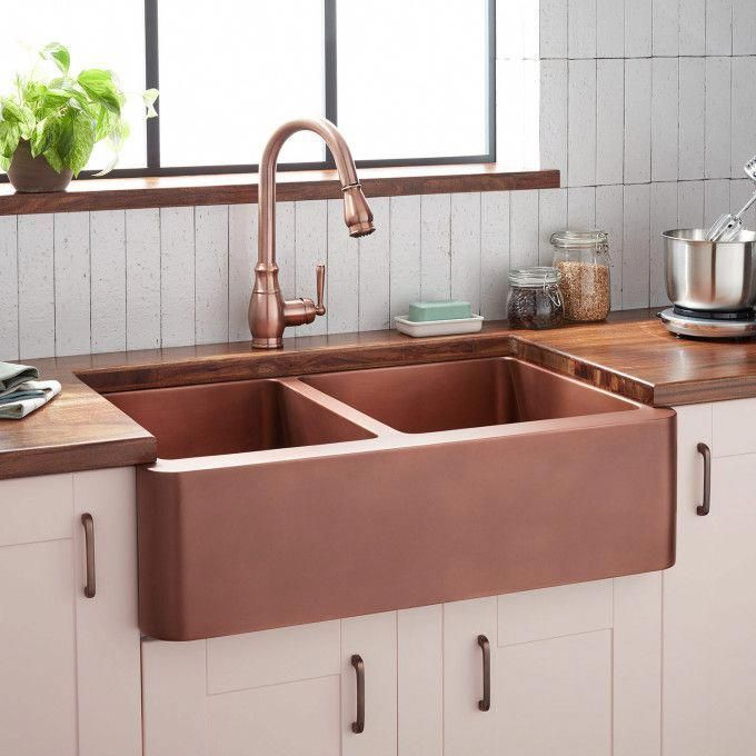 36 Tegan 70 30 Offset Double Bowl Hammered Copper Farmhouse Sink Copper Doublebowl Farmhouse Copper Farmhouse Sinks Farmhouse Sink Kitchen Sink Design