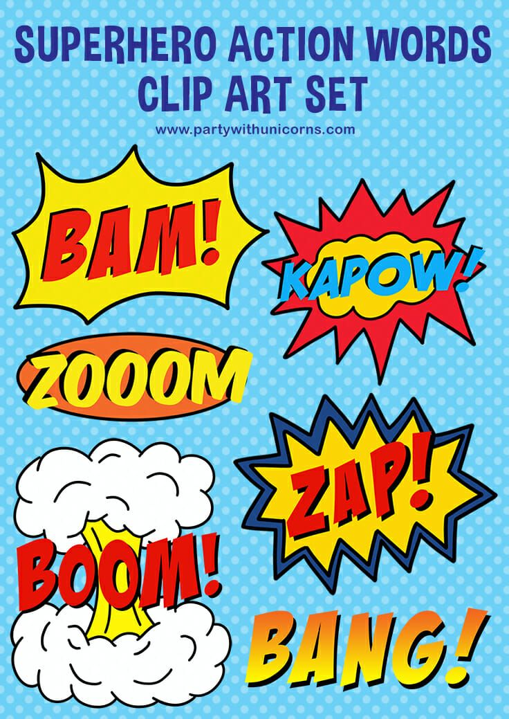 Superhero Clipart - Superhero Words #superherocrafts