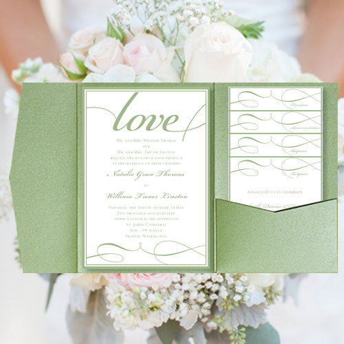Diy pocket wedding invitations its love green mint sage printable this do it yourself pocket card set will allow you to make your own wedding stationery solutioingenieria Gallery