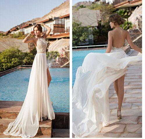 2015 sexy beach wedding dress, applique chiffon halter dress, boho wedding dress, chiffon dress female