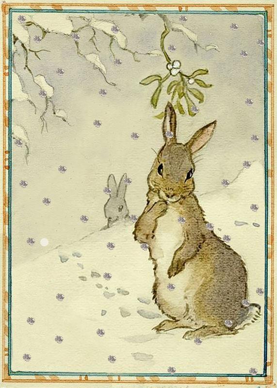 SNOW RABBITS - GLITTER CHRISTMAS CARD