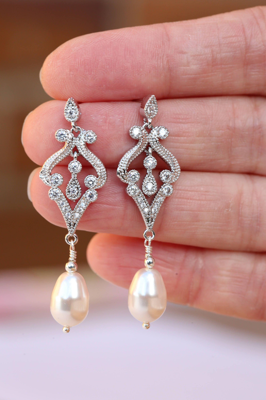 Bridal Earrings, Art Deco Earrings , Vintage Style Crystal Pearl ...
