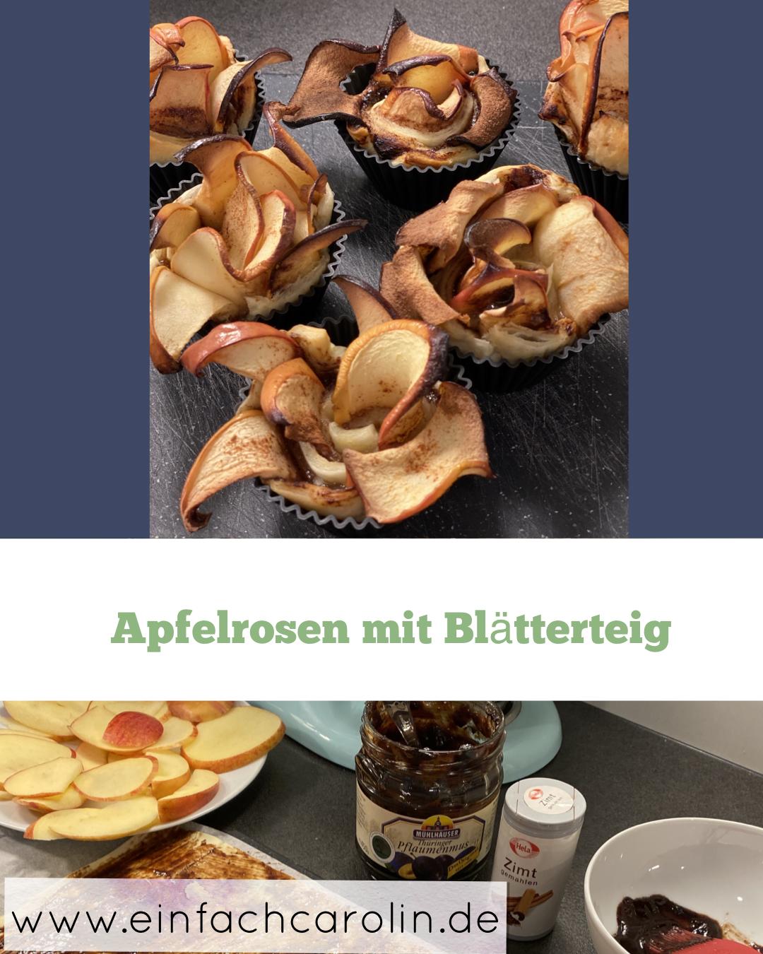 Rezept für Apfelrosen mit Blätterteig