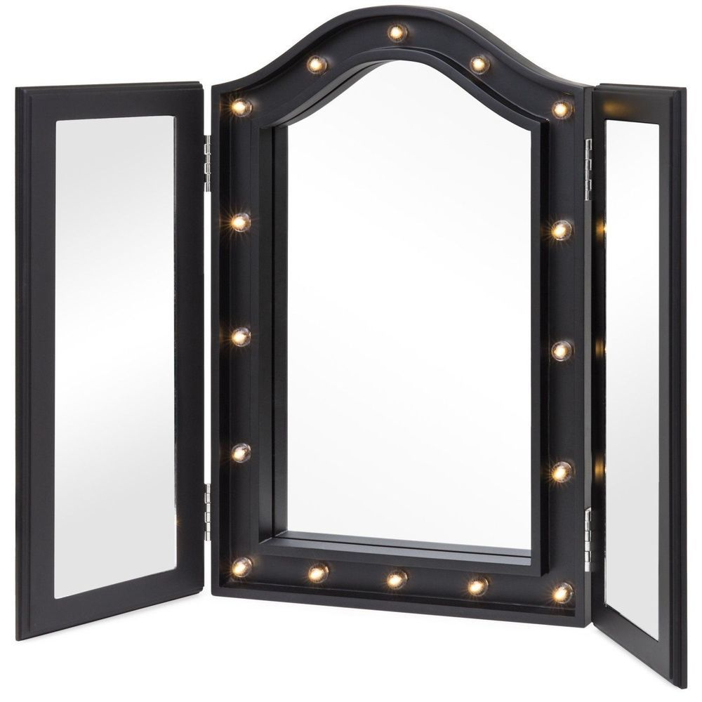 Tabletop Tri Fold Mirror With Led Lights Foldable Vanity Free