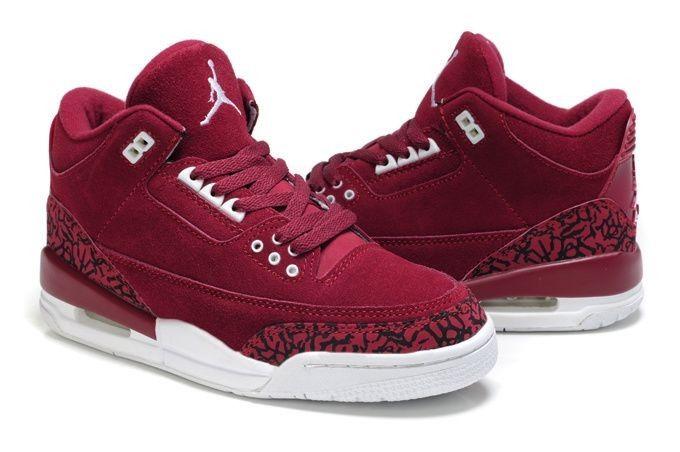 new styles 197d9 623b0 goedkoop Dames Nike Air Jordans 3 ( iii ) leopard pluis bordeaux zwart wit  schoenen bestellen