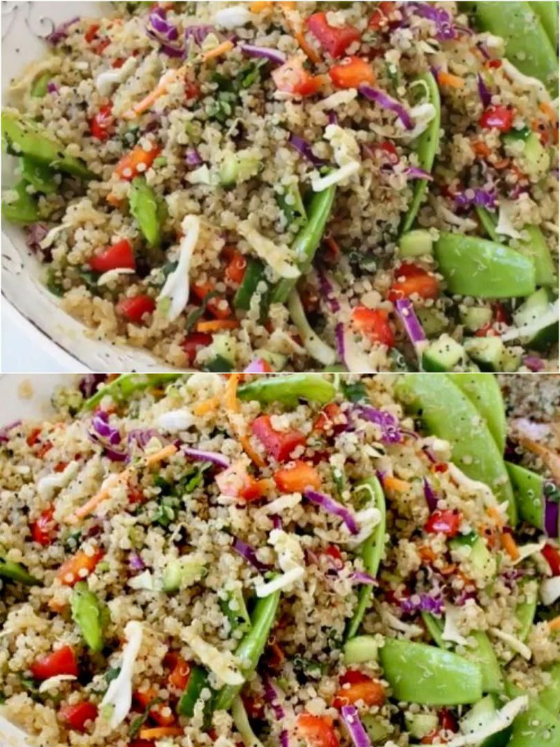 Veggie loaded quinoa salad with an Asian style dressing and lots of crunch from snow peas, bell pep