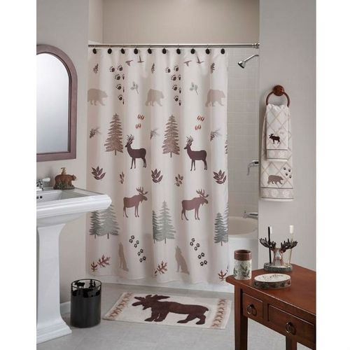 FREE SHIPPING Moose Bear And Coyote Decorate This Deer Trees Rustic Lodge Cabin Style Shower Curtain In Polyester Fabirc