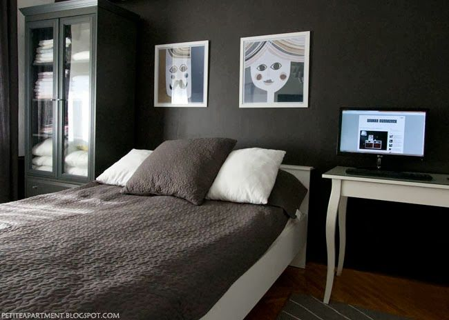 Low Major Tonal Scheme Bedroom With Black Dark Grey Walls And White And Grey Ikea
