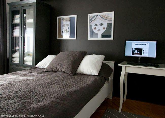 remarkable bedroom white walls black furniture | Low Major Tonal Scheme - bedroom with black dark grey ...