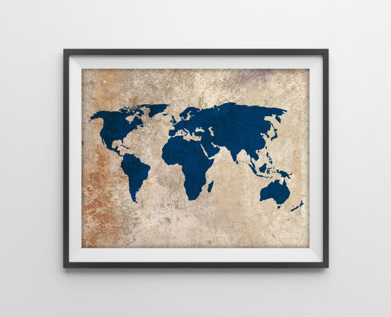 Rustic world map art print rustic vintage style world map poster rustic world map art print rustic vintage style world map poster travel decor gumiabroncs Choice Image