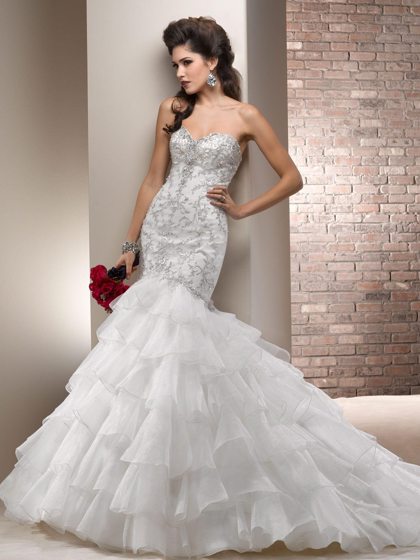 chic organza fit and flare wedding gown with sweetheart neck and ...