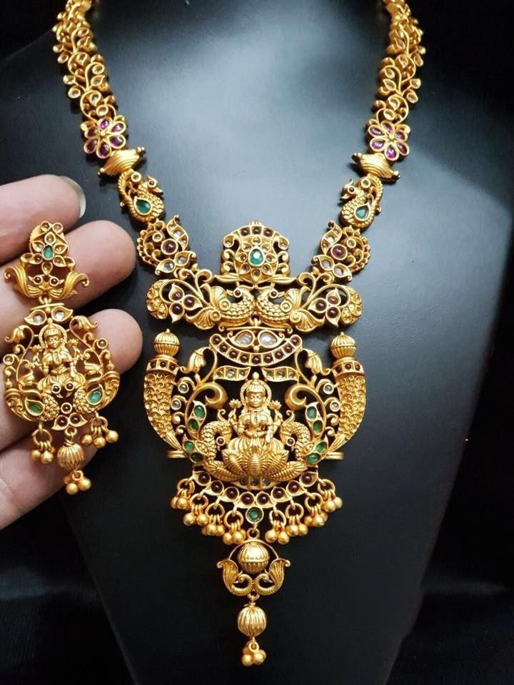 Code temple2758 beautiful one gram gold necklace with dancing beautiful one gram gold necklace with dancing peacock and lakshmi devi motif big pendant necklace studded with multi color stones jeweller mozeypictures Gallery