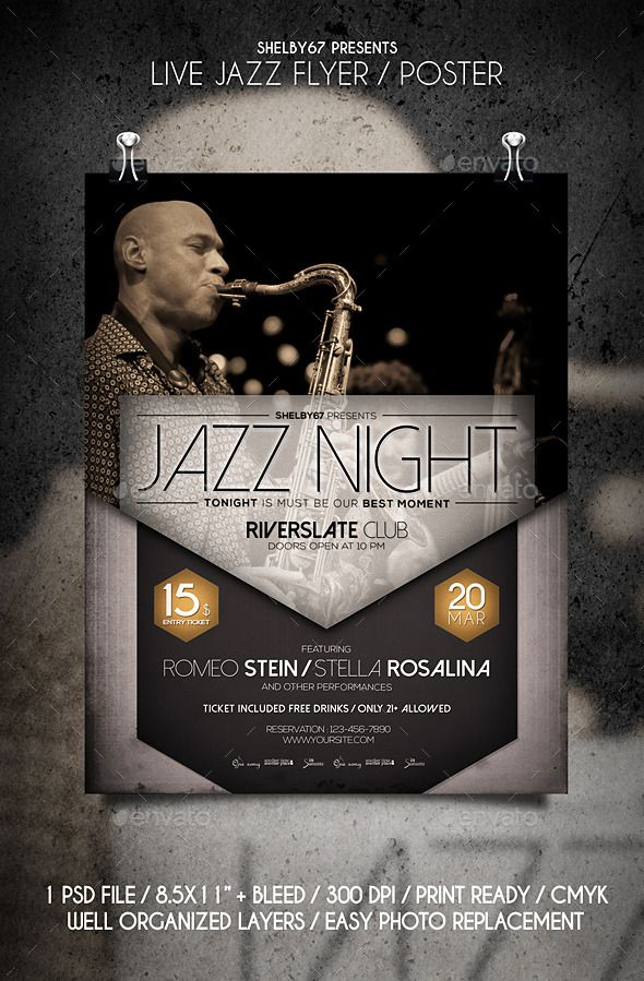 Live Jazz Flyer \/ Poster Live jazz, Jazz and Event flyers - typography flyer
