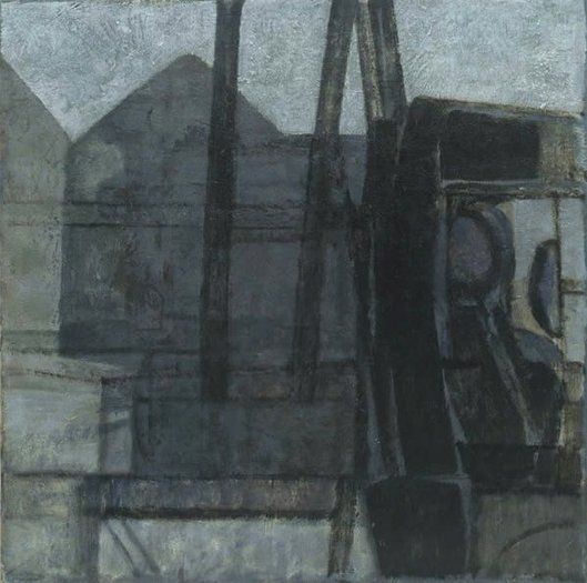 Lorry and Buildings: Study  Prunella Clough  1952  oil on canvas  21 x 21 ins