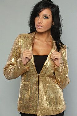 The Simone Sequined Blazer in Gold Women's Light Jackets By *NYC ...