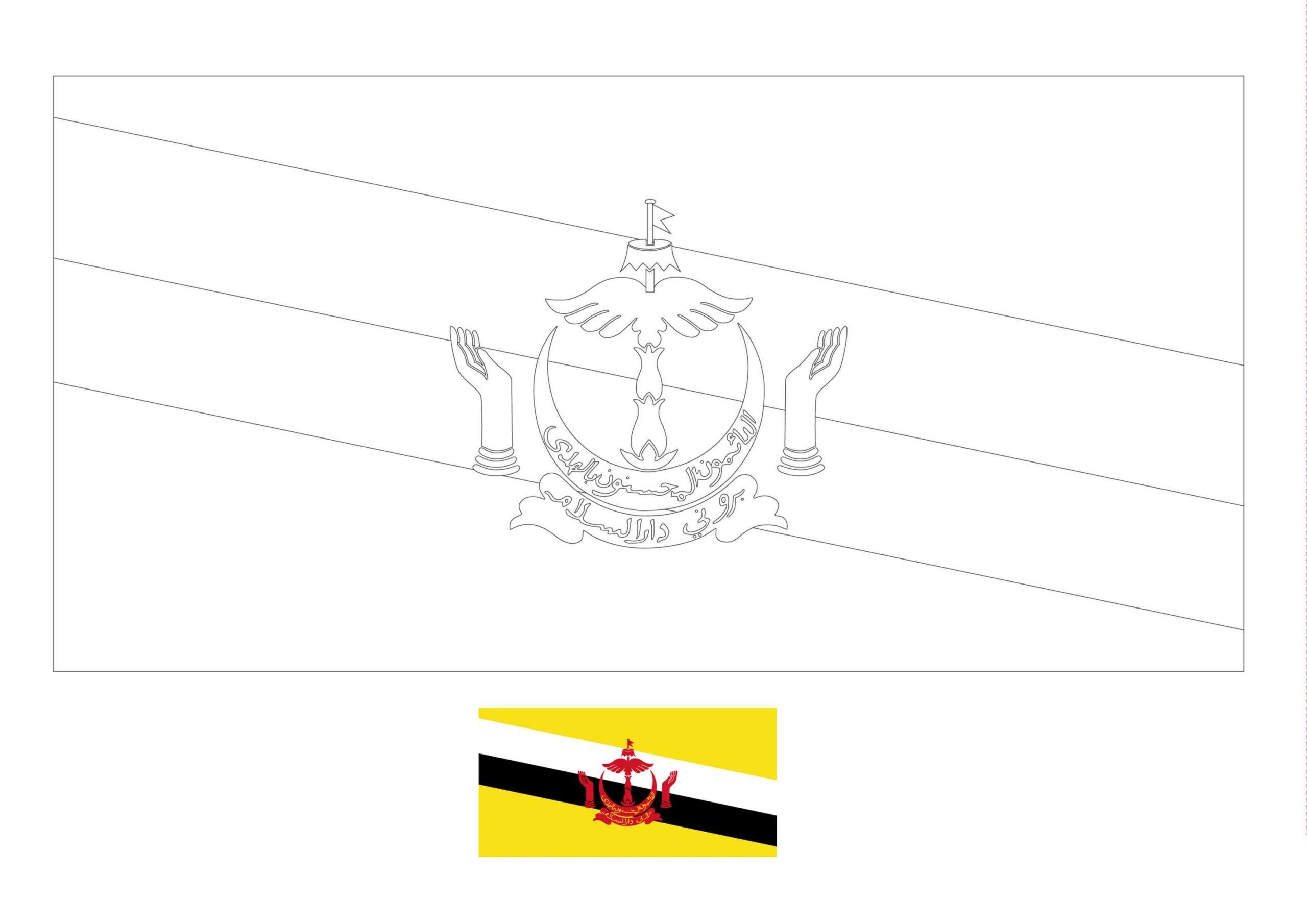 Brunei Flag Coloring Page In 2020 Flag Coloring Pages Coloring