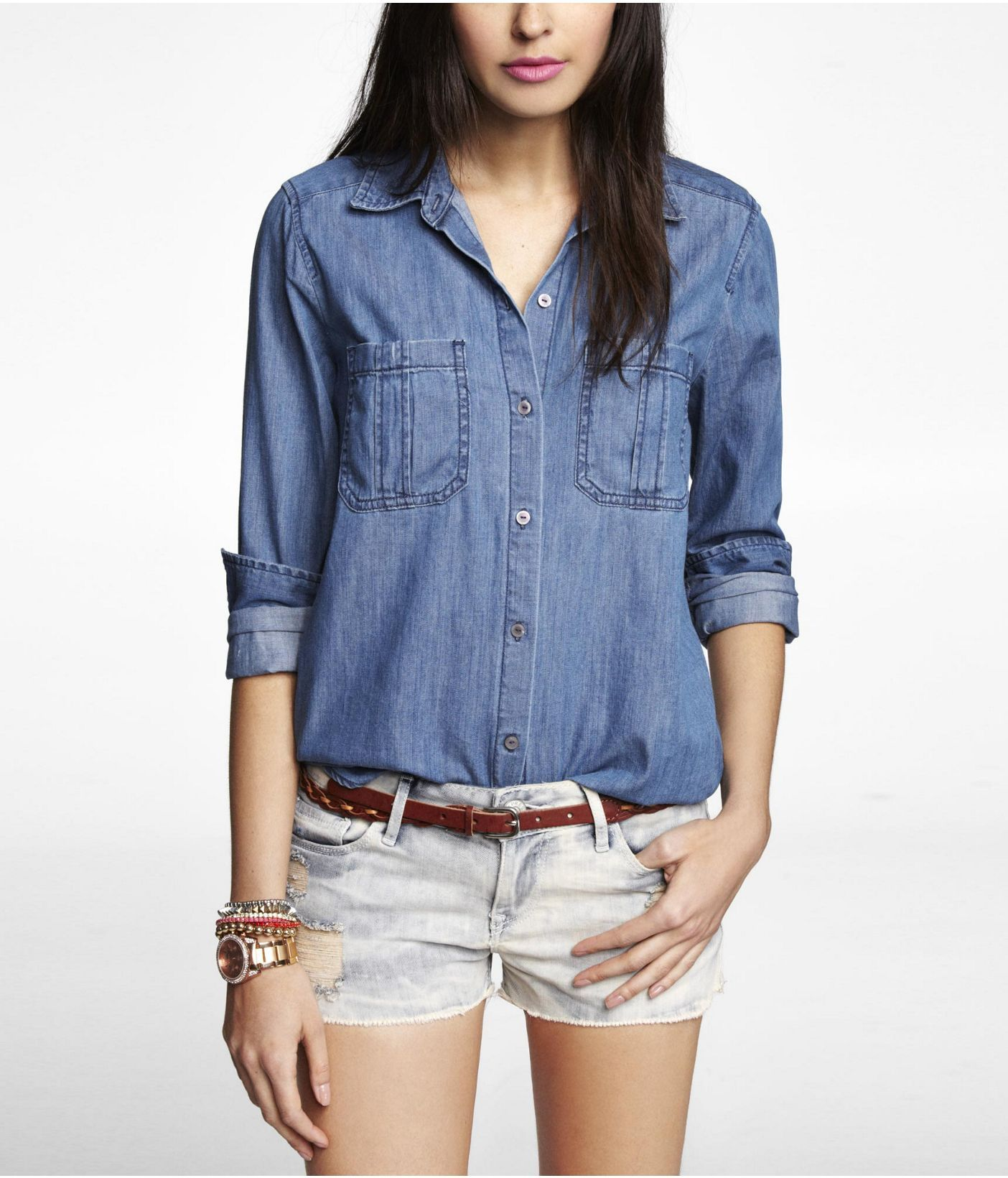 DARK WASH DENIM SHIRT | Express