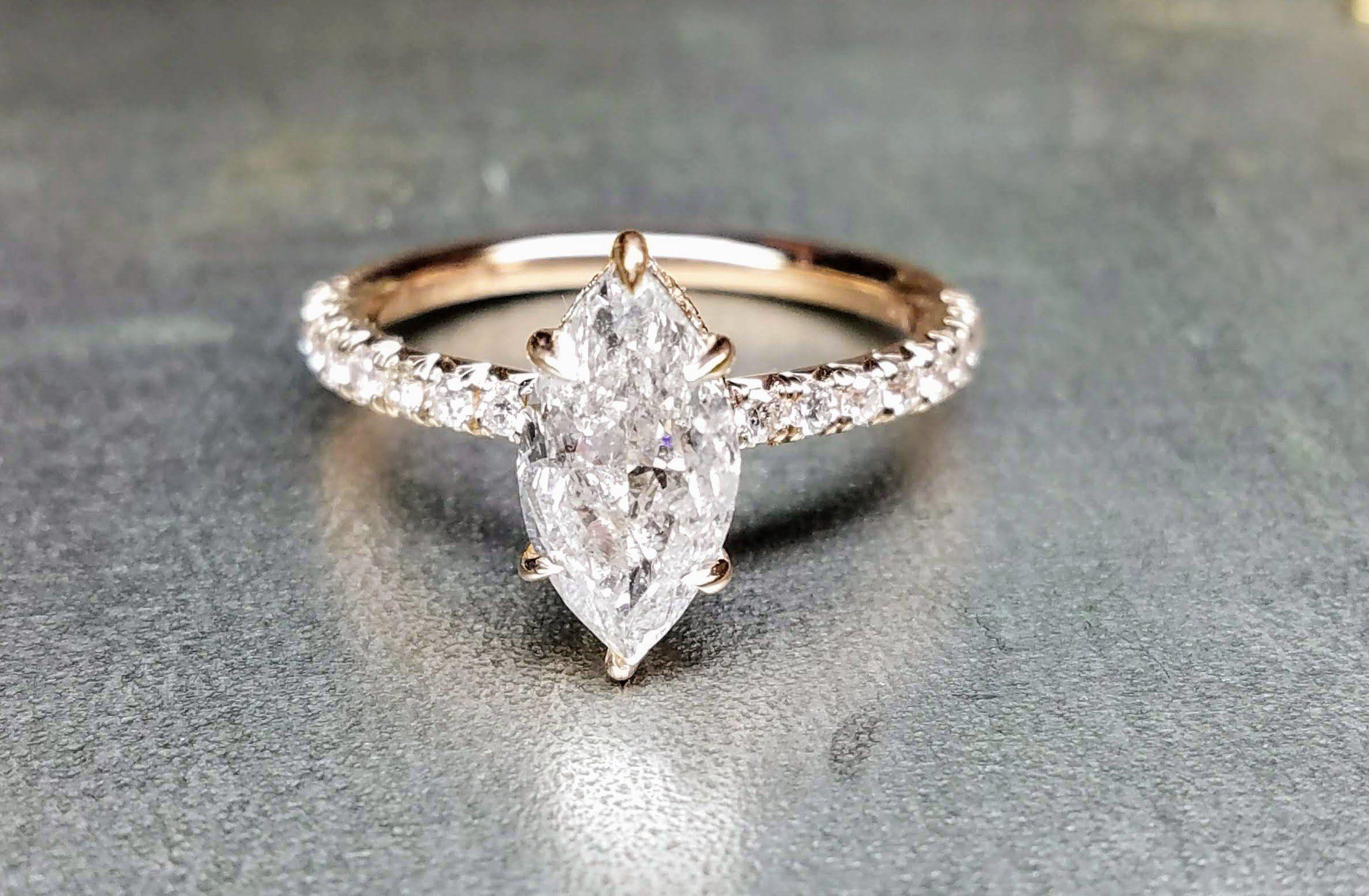Diamond marquise 1.50 carat rose gold engagement ring